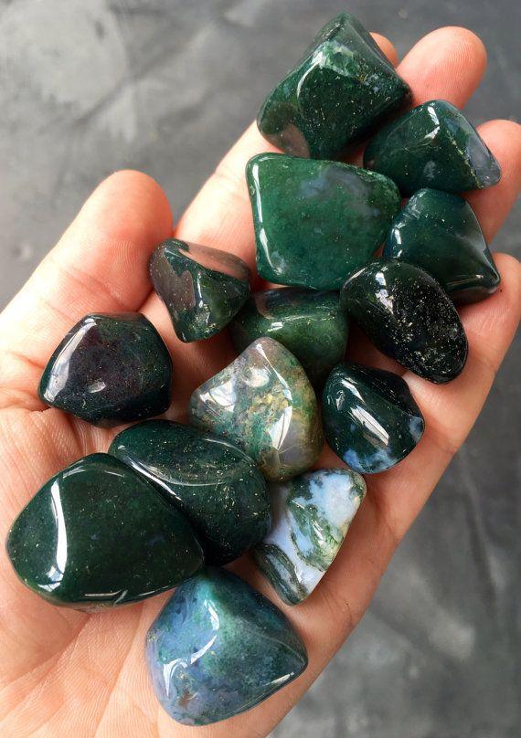 Moss Agate Stone Tumbled Stones Moss Agate Crystal Healing Crystals And Stones Moss Agate St Piedras Y Cristales Piedra Agata Agata De Musgo