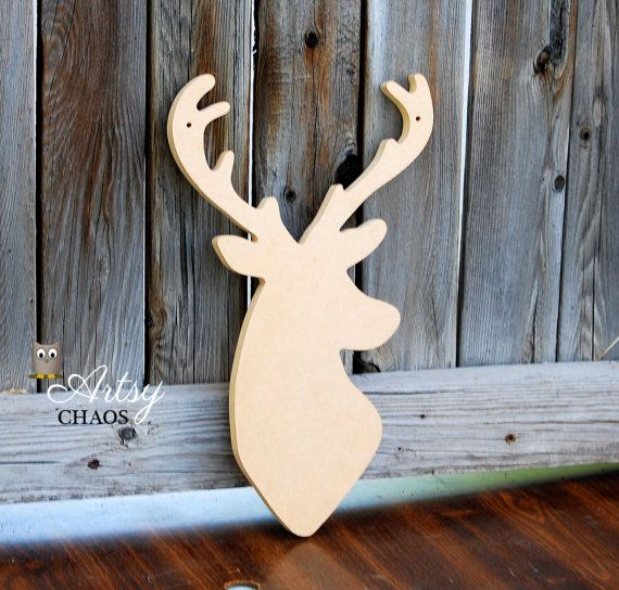 Unfinished Wood Cutout Deer Head Silhouette Home By Artsychaos