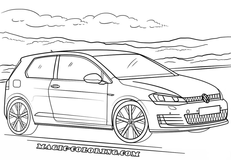 Volkswagen Golf Gti Coloring Page Volkswagen Golf Volkswagen Vw Art