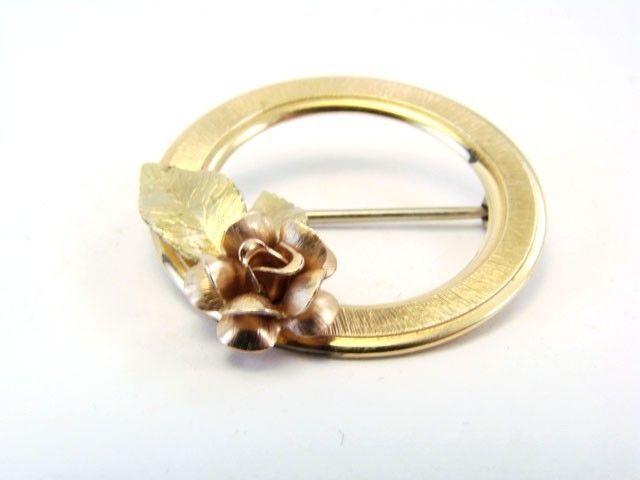 Vintage KREMENTZ Signed Gold Filled Rose Pin Brooch