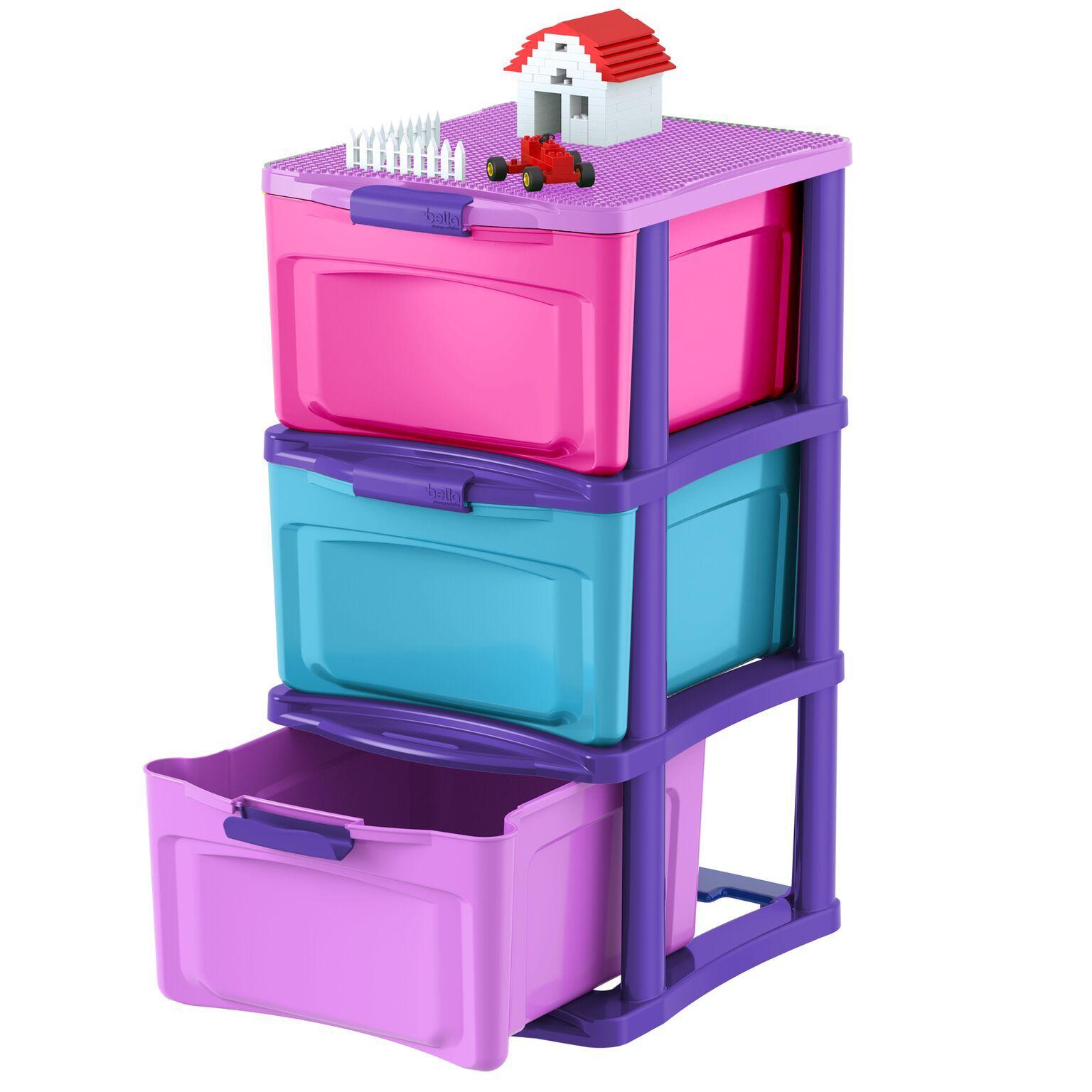 3 drawer medium locking chest with wheels storage