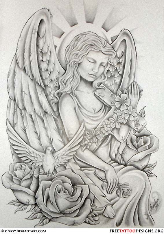 f87021fe6 angels tattoo with rose St Michael, Guardian Angels, Angel Wings, Saint  Michael,