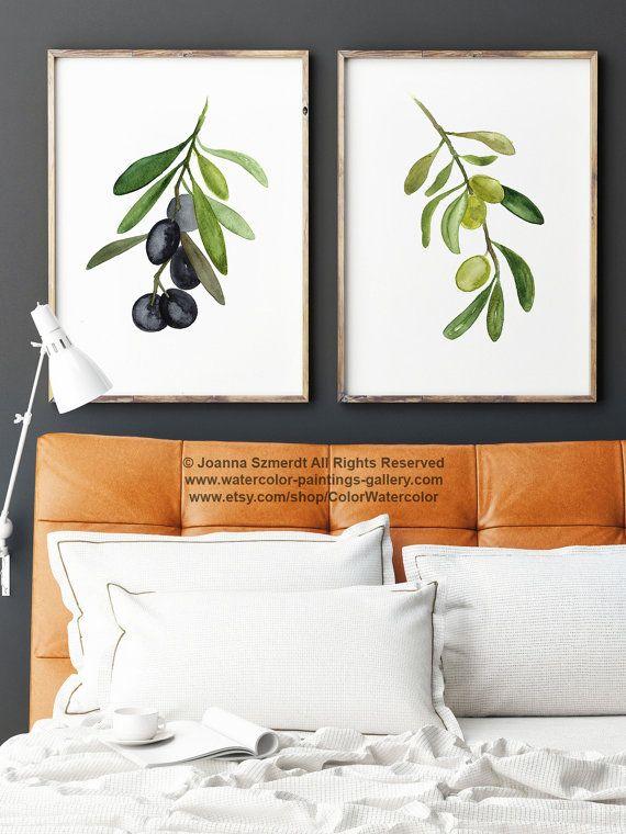 Olive Tree 2 Art Prints Set, Black Olive Fruit Watercolor Painting - wandbilder für küche