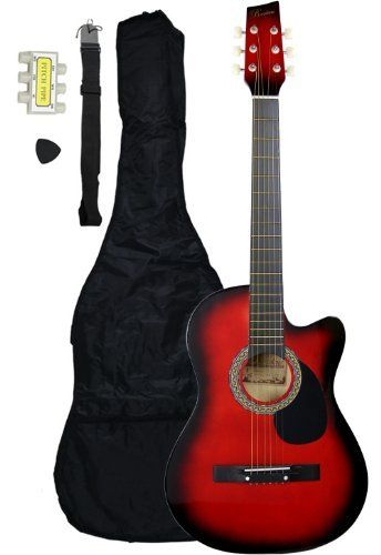 38-Inch Beginner Acoustic Guitar Starter Pack with Gig Bag, Strap, Pitch Pipe, and Pick - Red Cutaway by Austin Bazaar. $29.00. The 38-Inch Acoustic Guitar is a small-scale acoustic guitar that is not only affordable, but designed with the beginner player in mind. The smaller size makes it great for children or those with a smaller build, and the cutaway design makes it easy to access the higher frets. This 38-Inch beginner guitar comes outfitted with steel strings a...