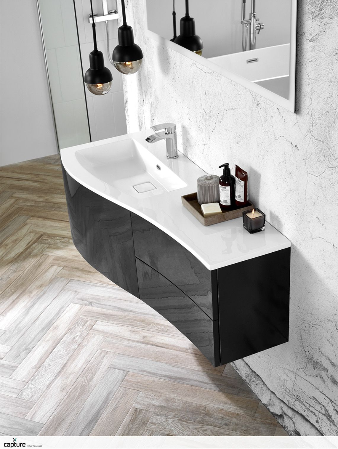 The Trend Is Key To This Tactile Bathroom With