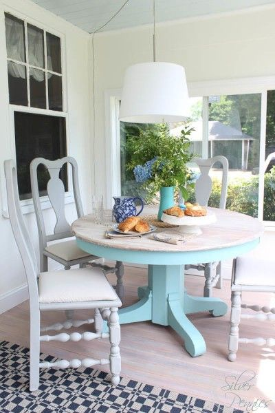 A Sunroom Furniture Set Makeover With A Lovely Table Finished In A Custom  Mix Of Pure