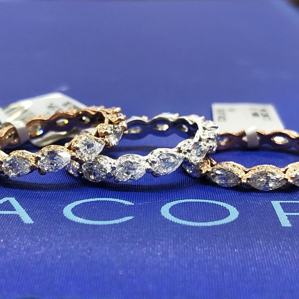 It S A Battle Of The Tacori Stacks We Love These Pear Diamond Wedding Bands Available In Atlanta With Images Tacori Wedding Band Diamond Wedding Bands Tacori Jewelry