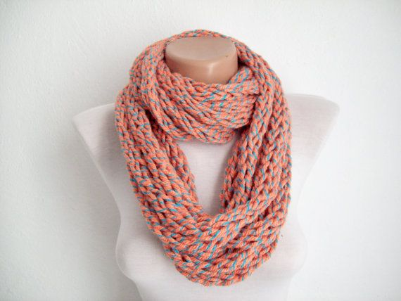 Knitting Loop Scarf : Knit finger scarf chain loop chunky infinity