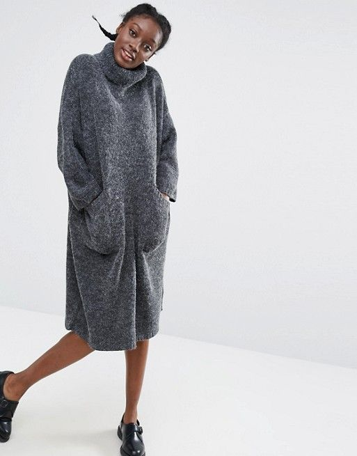 fe1fc61423b ASOS - Monki robe pull col roulé oversize 42€ gris chiné