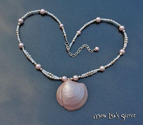 Pink Seashell Necklace, Natural Seashell Pendant, Seashell Jewelry, Seashel and Pearl Jewelry, Nautical Jewelry, Nautical Necklace