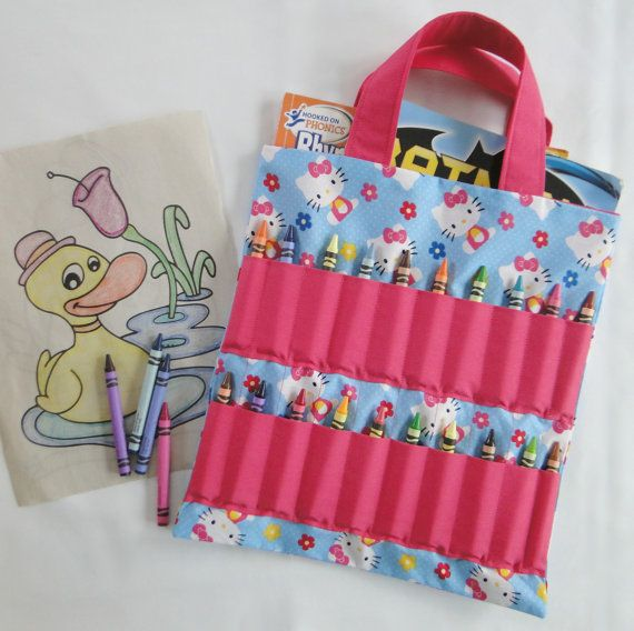 Hello Kitty Coloring Book And Crayon Holder Bag Tote Kids Etsy Hello Kitty Coloring Cat Coloring Book Crayon Holder