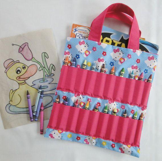 Hello Kitty Coloring Book And Crayon Holder Bag Tote Kids Etsy Hello Kitty Coloring Cat Coloring Book Crayon Holder