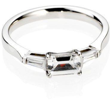 """East - West"" setting - Emerald Cut Trilogy Diamond Engagement Ring"