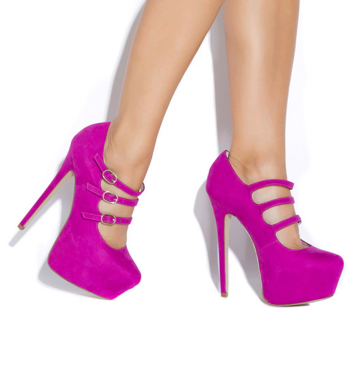 Fuchsia 3-strap High Heels