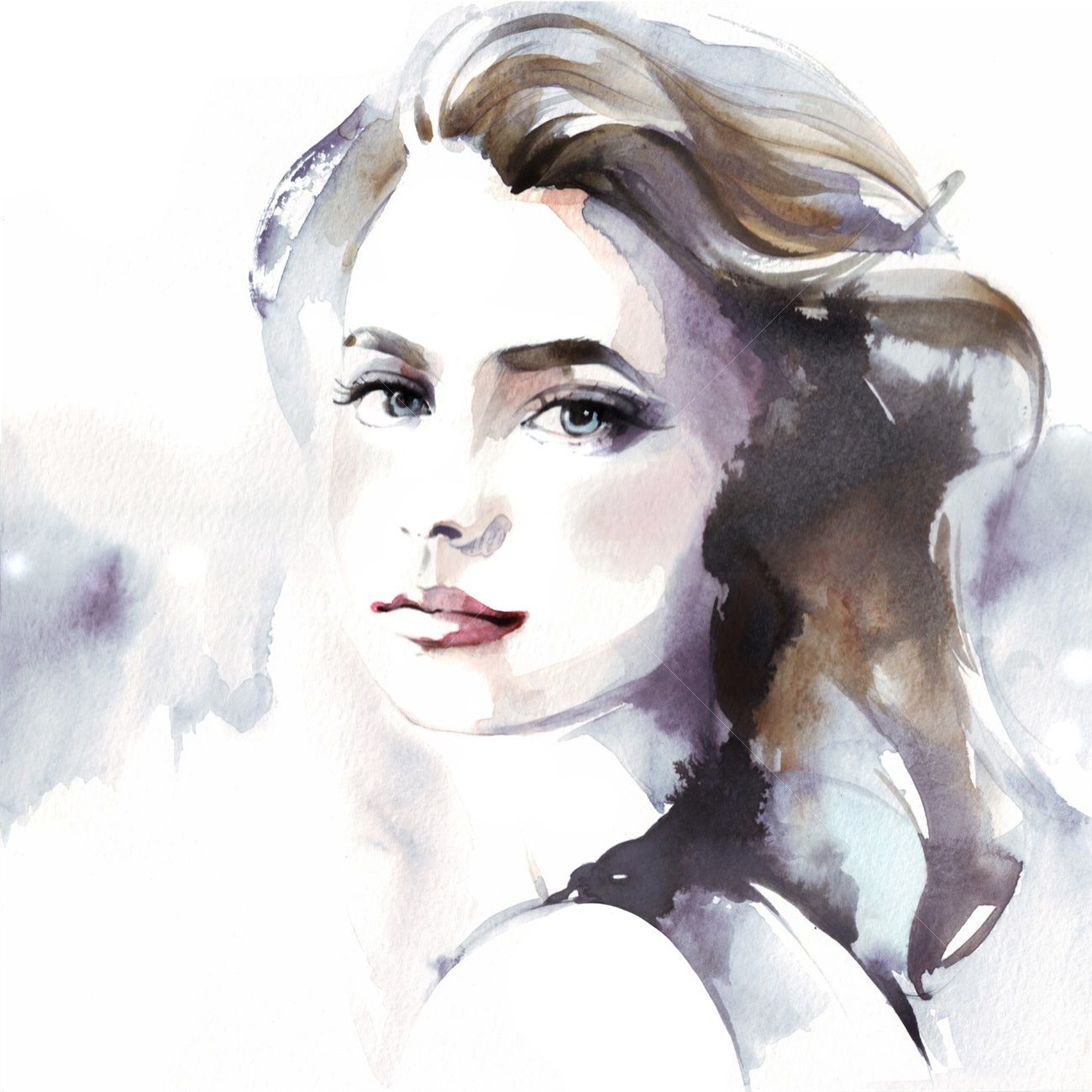 Portrait Lady Illustration Visage A L Aquarelle Portrait