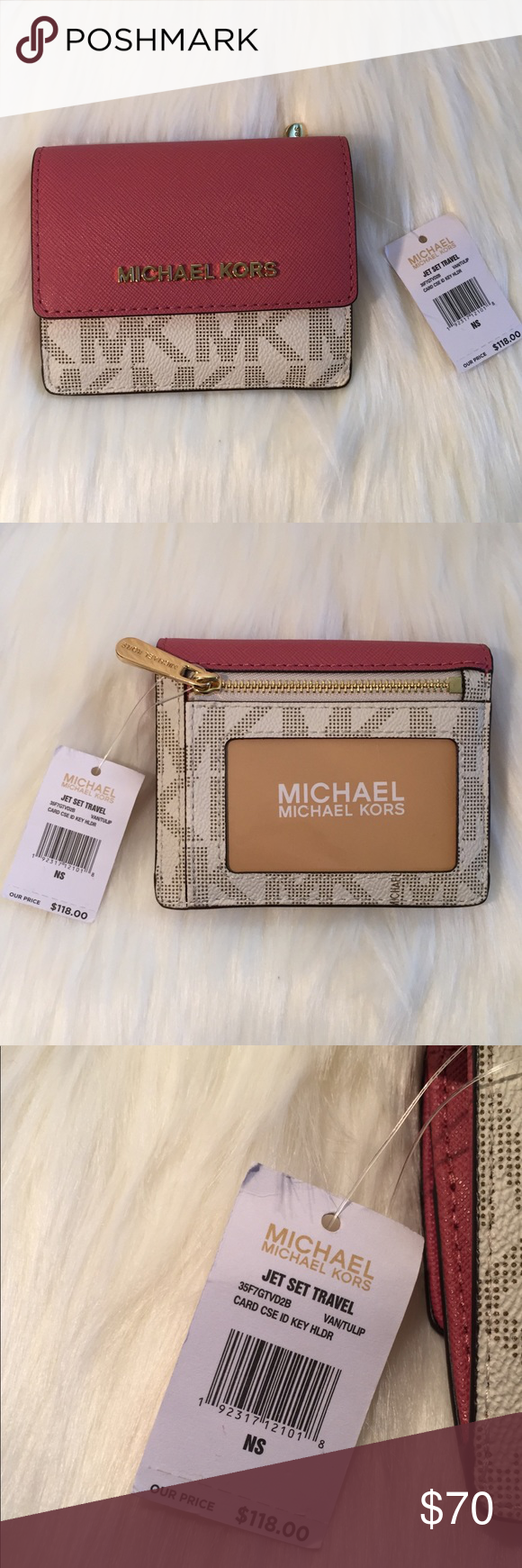 a97dc816a00c3f NEW🌸🐎MICHAEL KORS Card case ID Key Holder Jet Set Travel Card Case ID Hey  Holder Color VAN/TULP Leather MICHAEL Michael Kors Bags Wallets