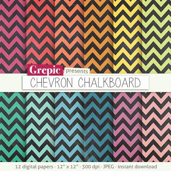 Chalkboard Digital Paper Chevron Chalkboard Digital By Grepic Digital Paper Paper Pack Digital Paper Pack