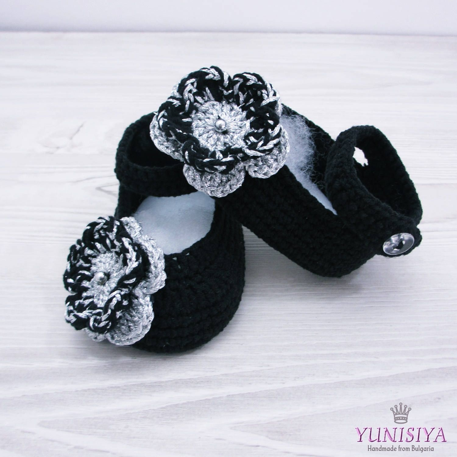Crochet Black Mary Janes Shoes with Pearls Crochet Baby Booties