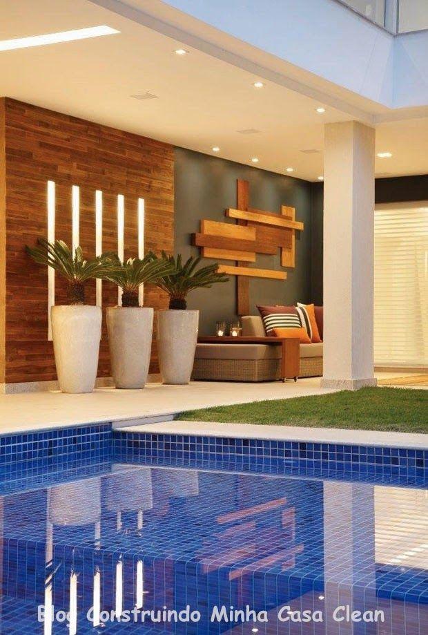 DETALHES - VASOS , ILUMINAÇÃO NO PAINEL Construindo Minha Casa Clean: Casa Maravilhosa! Fachada e Interior Super Moderno!!!