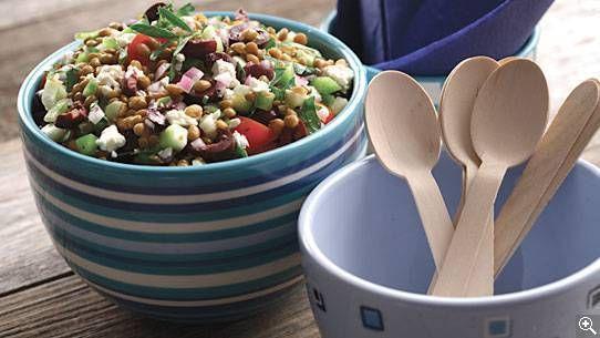 Salade grecque de lentilles: ingrédients, préparation, trucs, information nutritionnelle