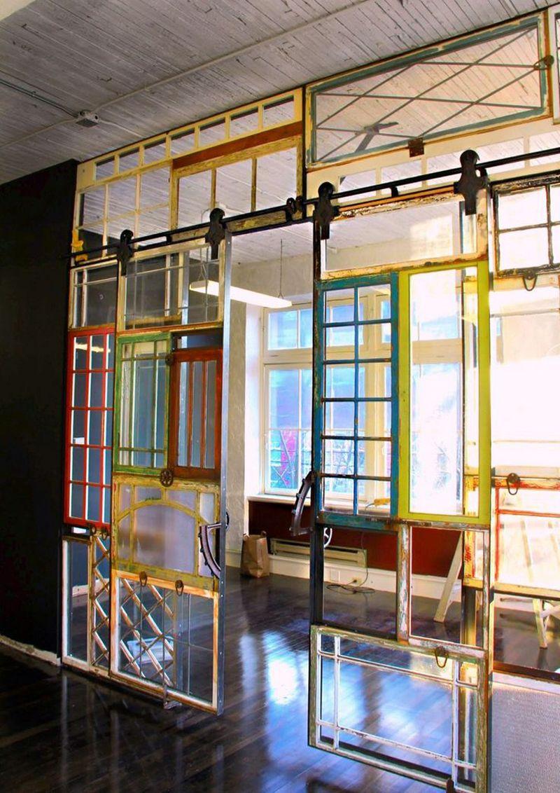 Pareti Divisorie In Vetro Colorato finestre riciclate come pareti | room divider doors, bamboo
