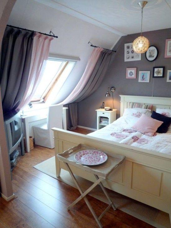 Fenstergardinen für Dachzimmer - 20 moderne Ideen - schlafzimmer farben grau rosa