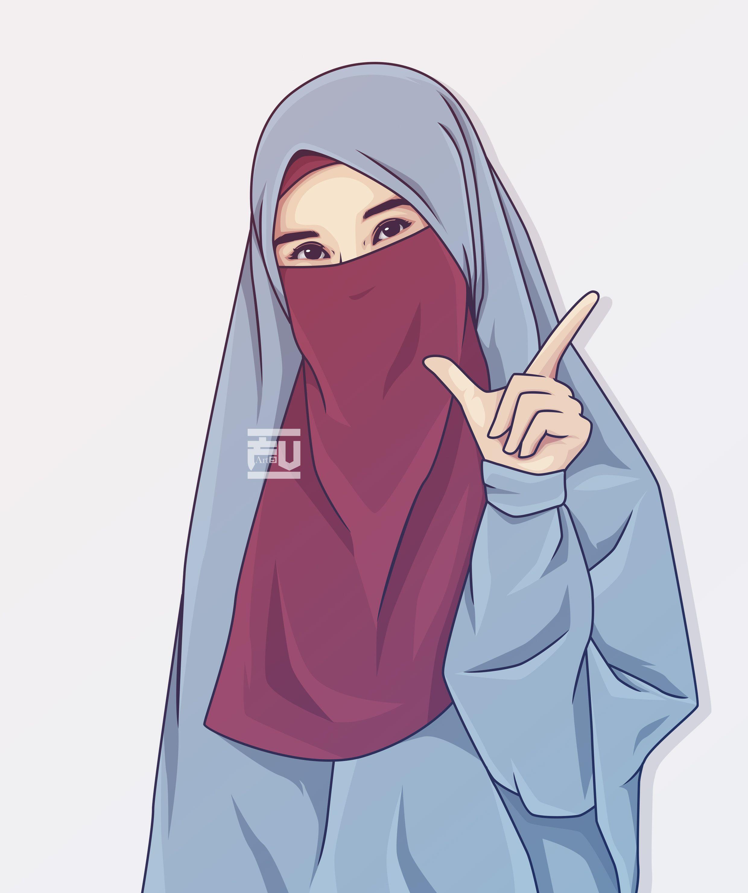 Hijab Vector Niqab Kartun Ilustrasi Karakter Ilustrasi Orang