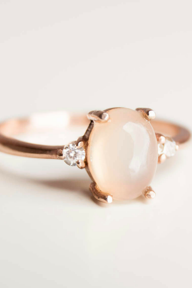 Moonstone engagement ring rose gold engagement ring diamond