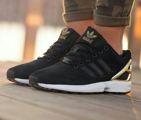 Black and gold adidas zx flux! Plain amazing! | Shoes en