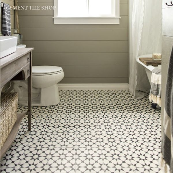 Concrete Bathroom Floor: Encaustic Cement Tile Agadir White