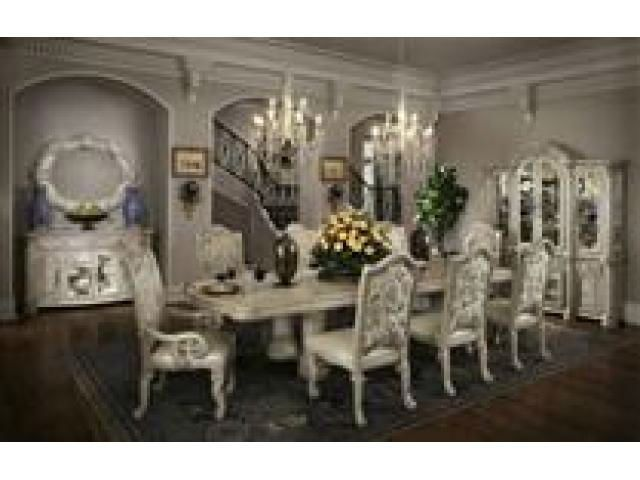Home Gallery Furniture For White Monte Carlo II Rectangular Dining Table Set Silver Pearl Finish