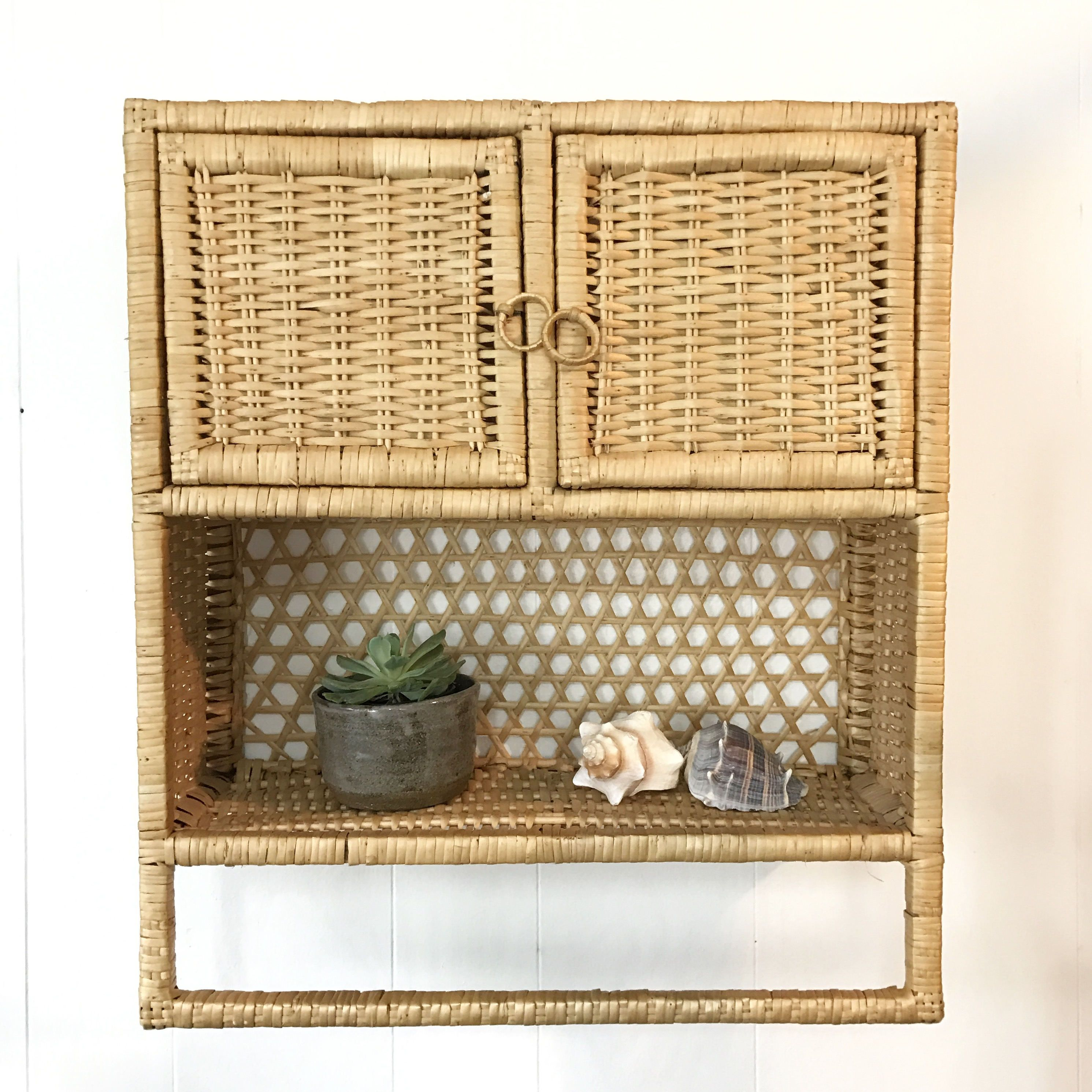 Vintage Rattan Cabinet Woven Wicker Wall Cupboard Bathroom Storage Shelf By Ninedoorsvintage O Kitchen Wall Shelves Wall Cupboards Bathroom Storage Shelves