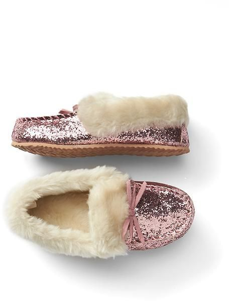 04dd11c92 Cozy glitter moccasin slippers | Kiddo Love | Slippers, Kids ...