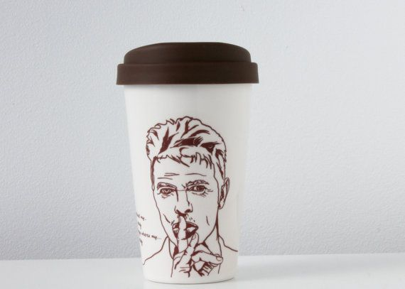 David Bowie Ceramic Travel Mug By WinsomeGallery On Etsy, $25.00