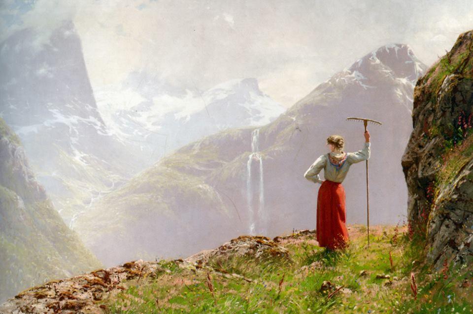 Admiring The View Hans Dahl Norwegian 1849 1937 Landskapsmaleri Norge Maleri