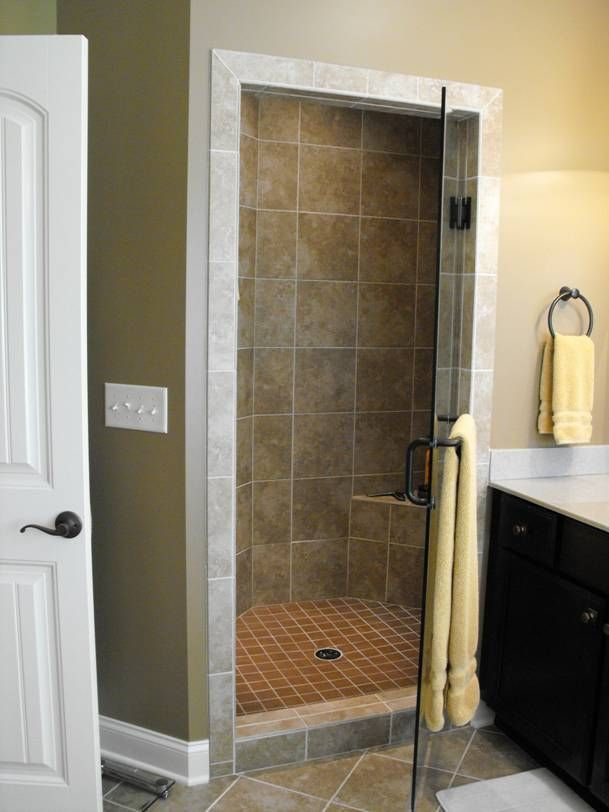 Gorgeous Custom Tile Shower With Built In Seat And Glass Door