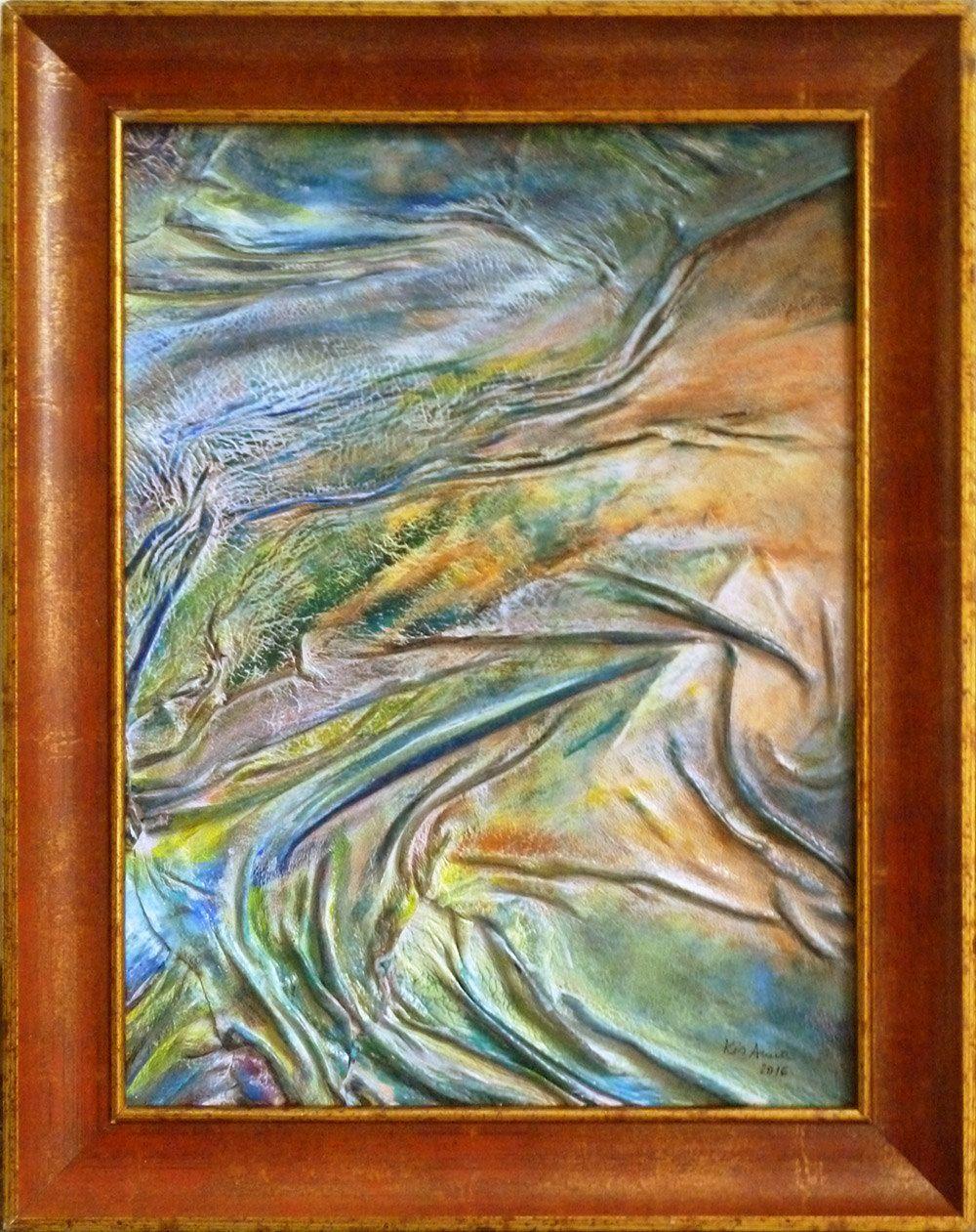 Green painting original abstract landscape anniversary birhday