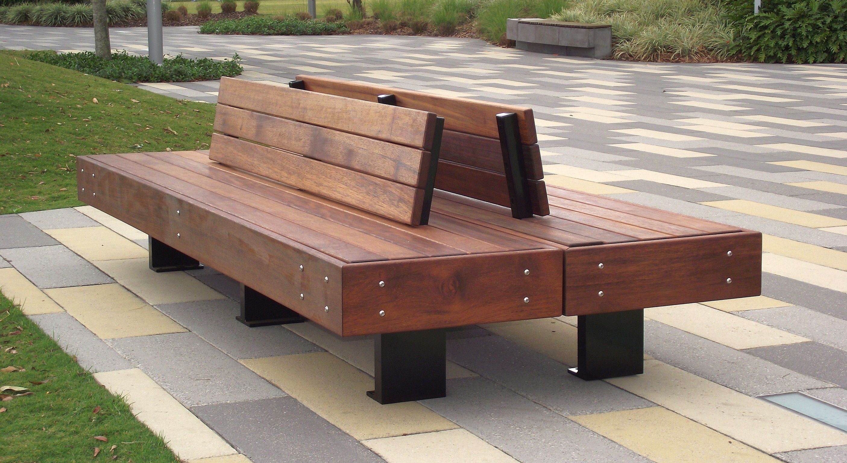 Northshore Double Sided Timber Seat Park Furniture