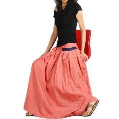 Beautiful and trendy Long Skirt with pretty orange color style ...