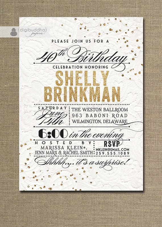 White Lace Gold Glitter Birthday Invitation Modern Chic Typography – Golden Birthday Invitation