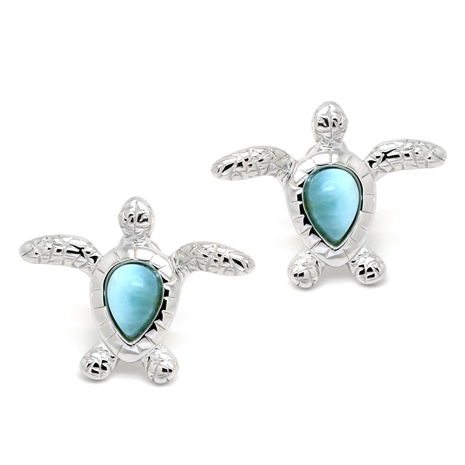 rhodium sea blue jf jewelry synthetic stud turtle earrings opal plated sterling silver bling az