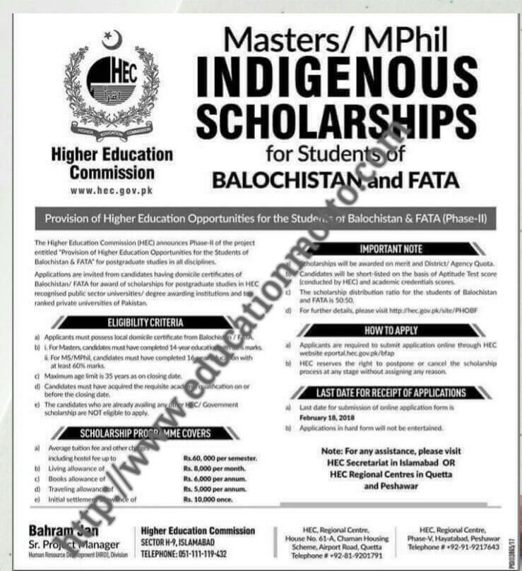 HEC Indigenous Scholarship 2018 for Masters/MPhil Online Form for