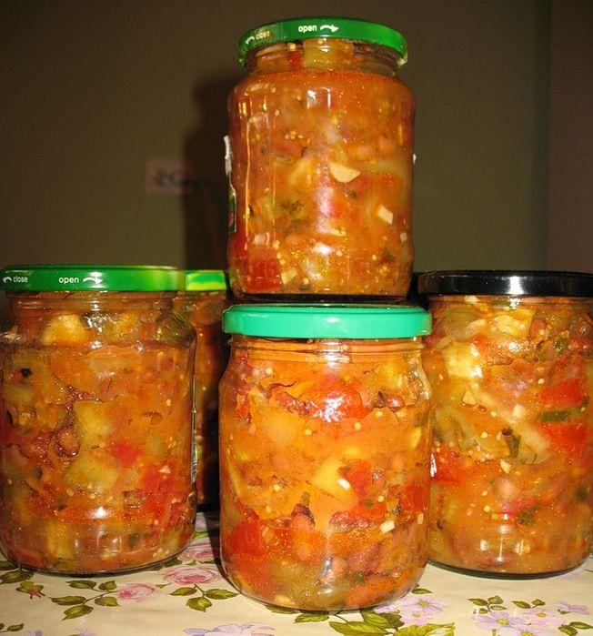 салат из фасоли и кабачков на зиму с фото