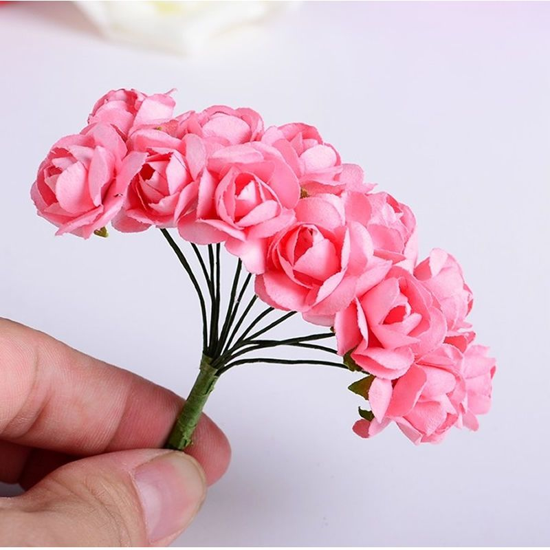 144pcs mini cute paper rose handmade artificial flower for for Small flowers for crafts