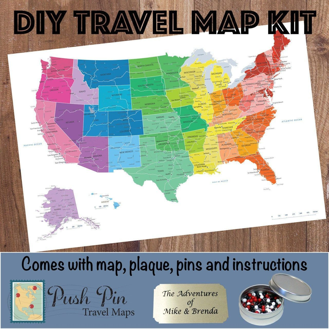 DIY Colorful US Push Pin Travel Map Kit Travel Maps And Products - Create a us map with pins