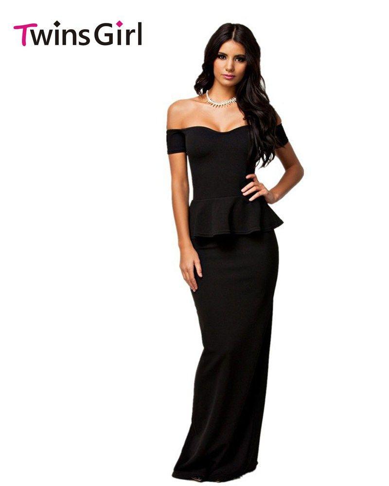 Halter top wedding dresses plus size  New  Women Dress  Colors Sexy Peplum Dress With Off shoulder