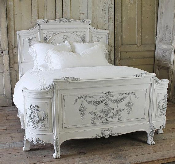 Antique French Painted Queen Bed by FullBloomCottage on Etsy