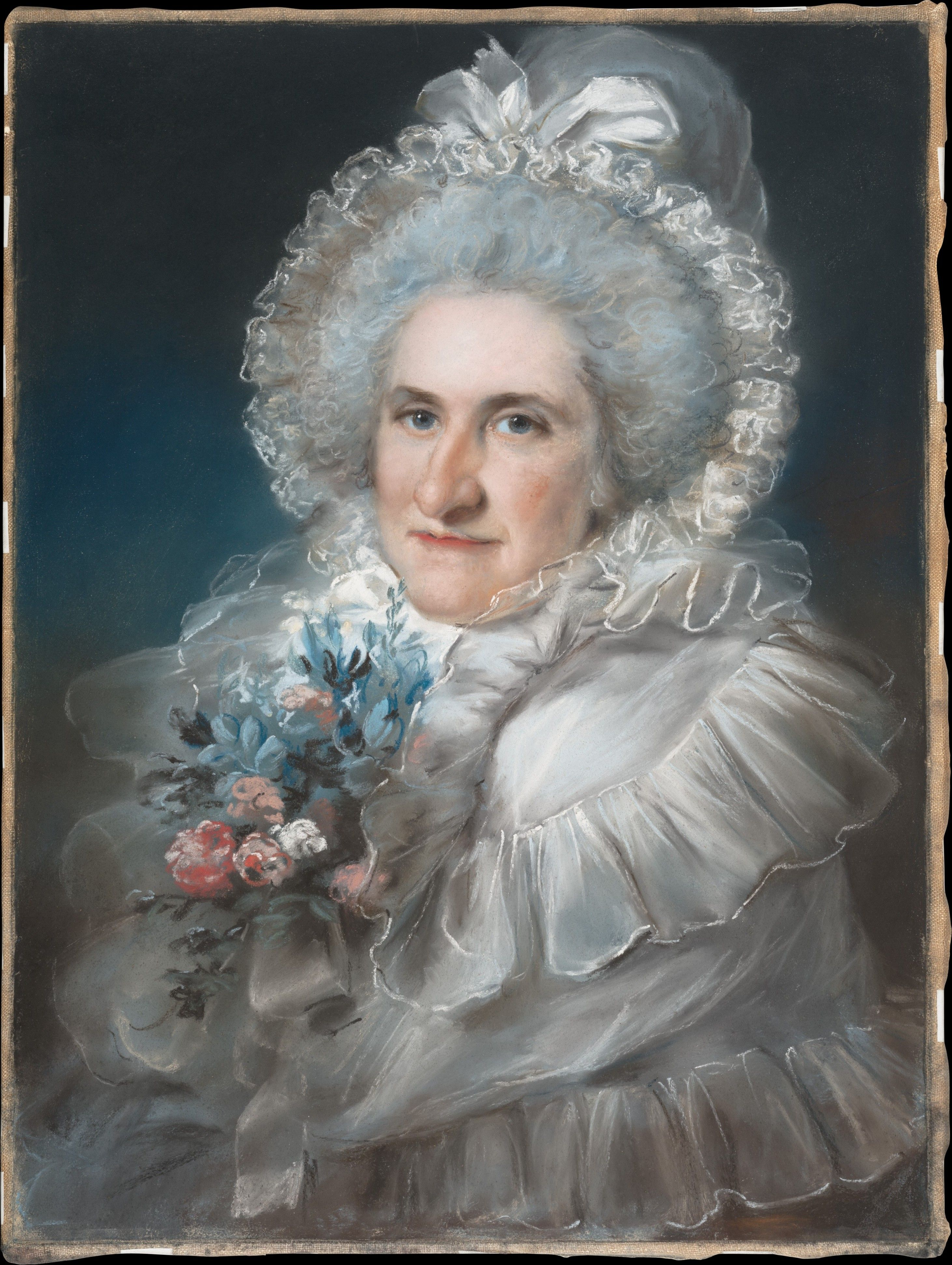 Russell was England's leading pastellist in the later eighteenth century. He studied under Francois Cotes and from 1769 to 1806 exhibited annually at the Royal Academy, of which he was a member. This portrait and a companion piece showing the sitter's husband were executed to celebrate the couple's fortieth anniversary