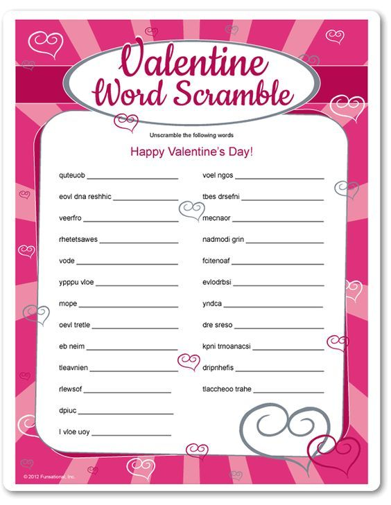 valentines day word scramble printable game fun games for kids and adults