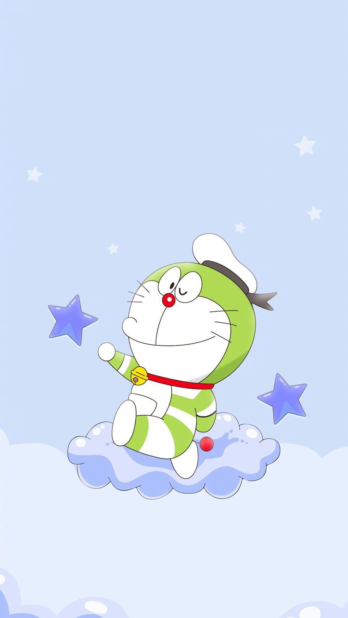 Doraemon Sits On The Cloud The Stars Surround It